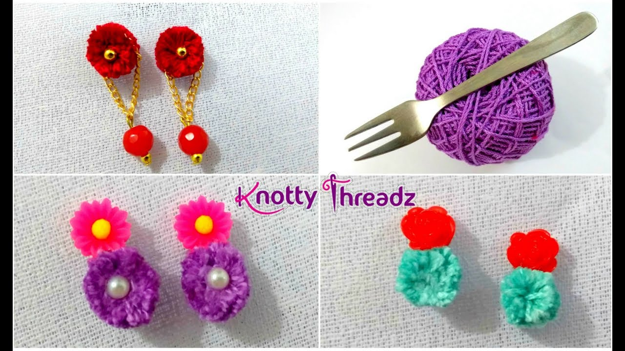 How to Make Trendy Earrings Using Thread | DIY Fancy Studs less than 2 Mins