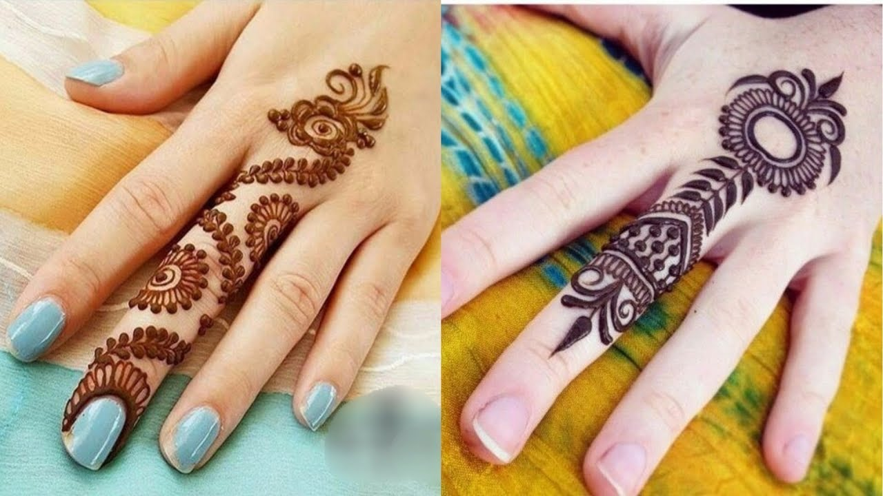 simple and unique centre finger henna design