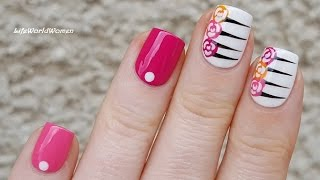 ROSE NAIL ART With Stripes / Floral Summer Nails Idea