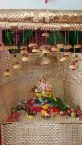 Ganesha decoration with palm tree leaves house