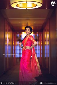 40.Red silk saree with Embroidery Blouse