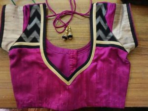 52.Pink Blouse with black work