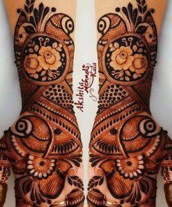20.Rose with Peacock Mehndi design