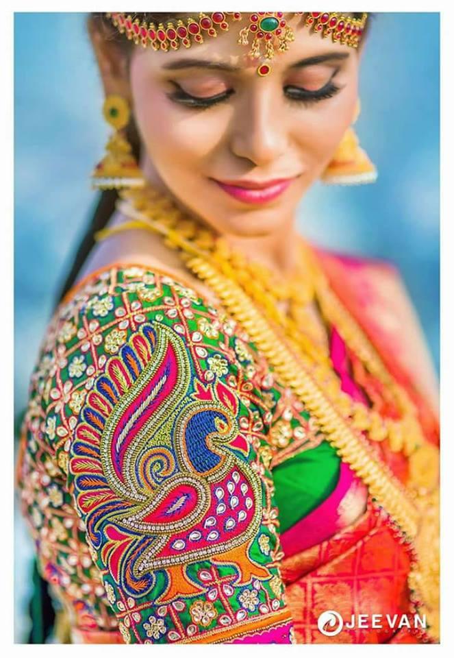 Stunning Peacock Aari Work Bridal Blouse Photo Gallery