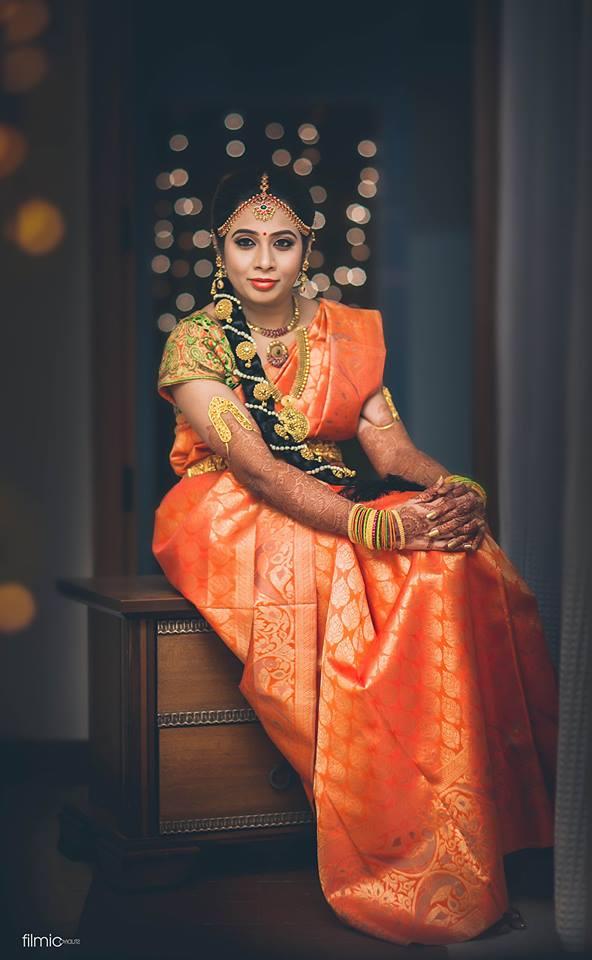 Orange self design Silk saree