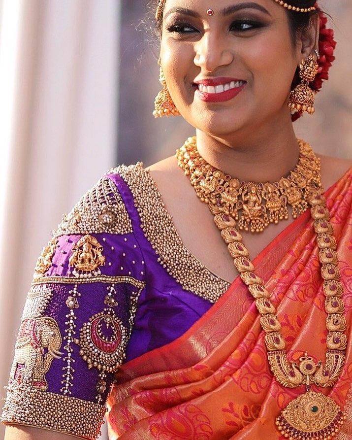 Gold Beads Blouse Design