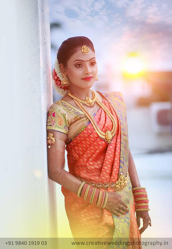 Orange with Sandal Border Silk saree