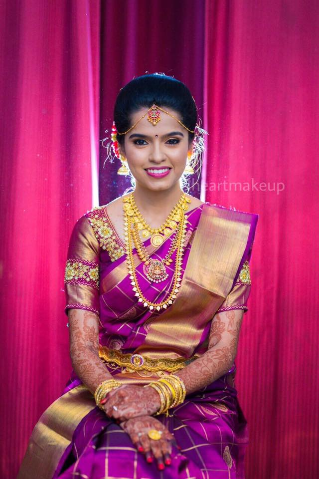 Violet Silksaree with Golden Checked Lines