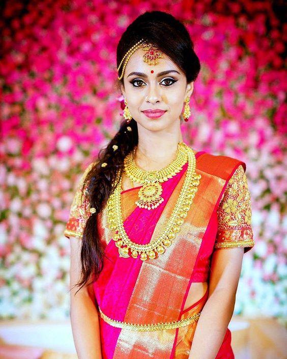 Princess Braid Hairstyle for Pink Saree