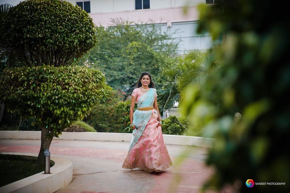 Pink with cyan bridal  halfsaree