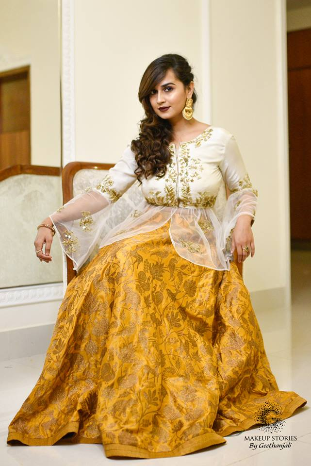 Gold with white top Bridal Gown