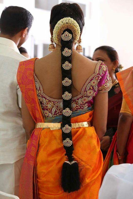 Bridal Jadai hairstyle with Dollars