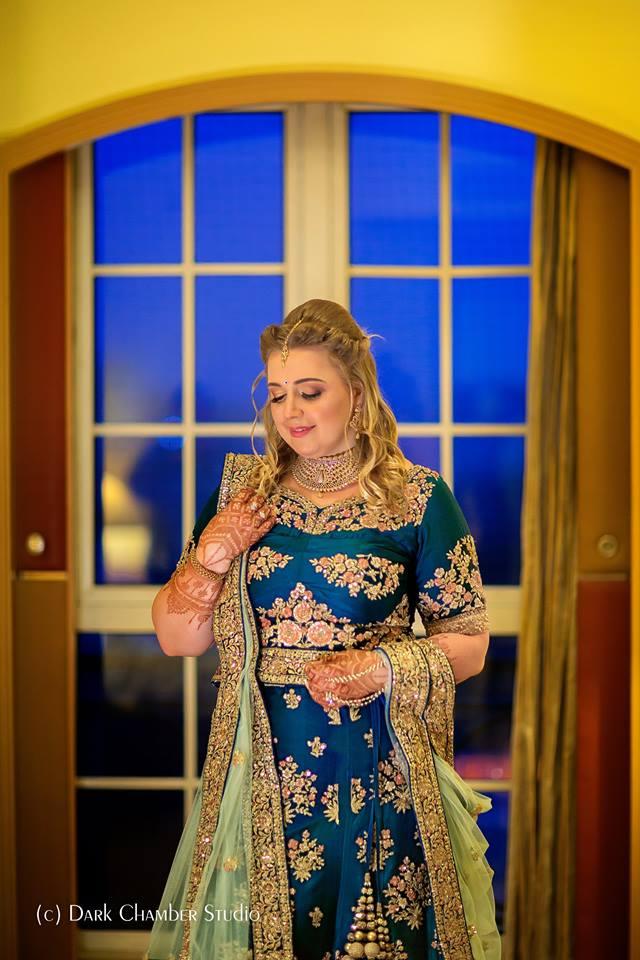 Blue with gold bridal lehnga