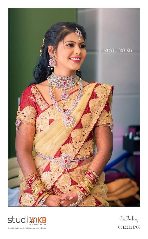 Gorgeous Red with beige designer saree