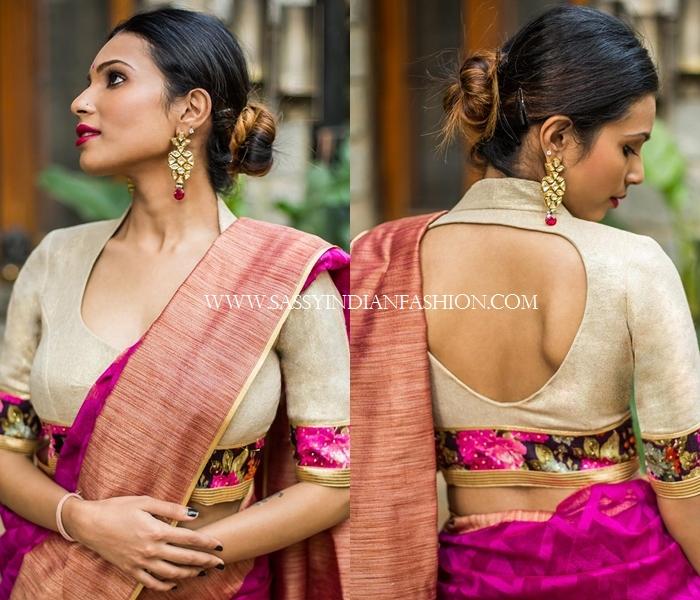 Sandal collar blouse back design