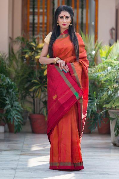Orange with Maroon saree