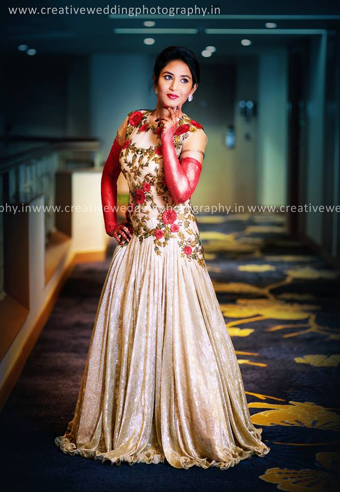 Floral Bridal Evening Gown
