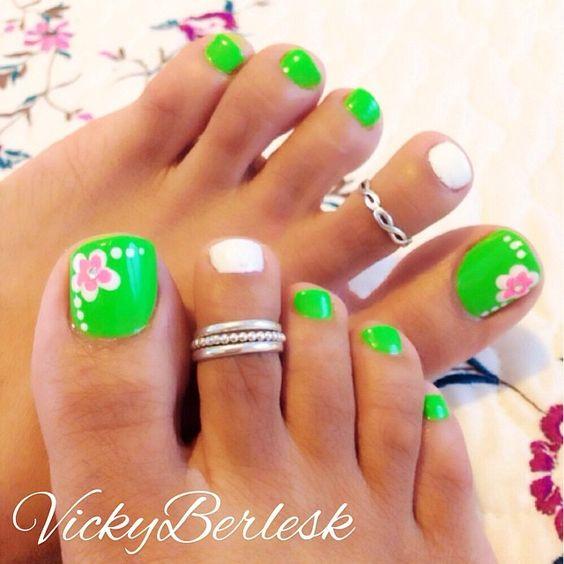 Neon Green Floweral Nail Art