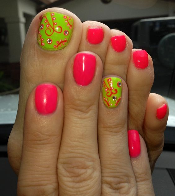 Neon Green with Orange Nail Art
