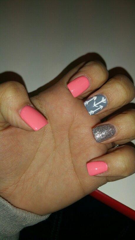 Pink grey Glitter Nail Art