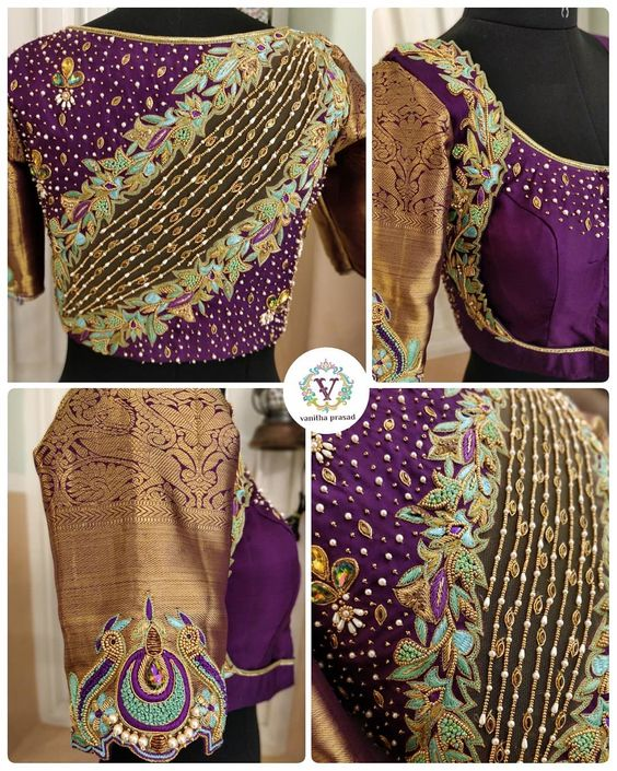 Heavy Purple color maggam work Blouse