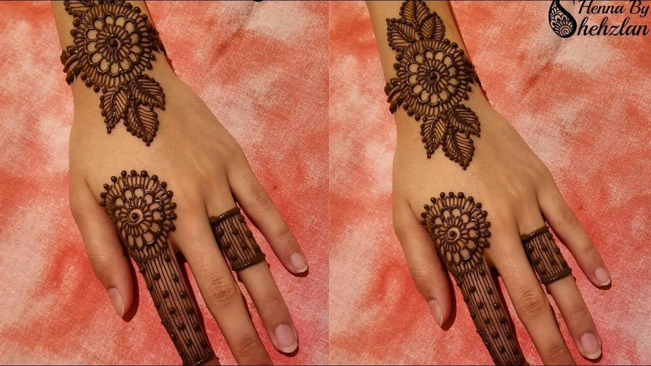 stylish one finger jewellery mehndi design